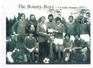 "1st 7-a-side winners 1977 Back left- Mike O' Connor, James Gleeson (RIP), Billy Doyle, Mike ""Smiler"" Moloney, Denny Hayes, Donagh Gleeson, Pat ""Pogs"" Looney. Front left- Barry O' Connor, Toni Fleming, John Joe Grady, Sean Kelliher."